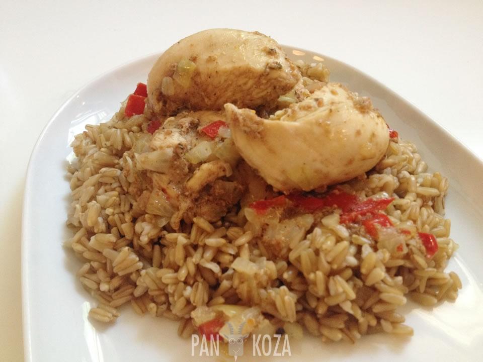 Kurczak jamaican jerk i kasza owsiana